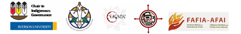 Various logos for Chair in Indigenous Governance, Ontario Native Women's Association, FAQNW, FAFIA-AFAI